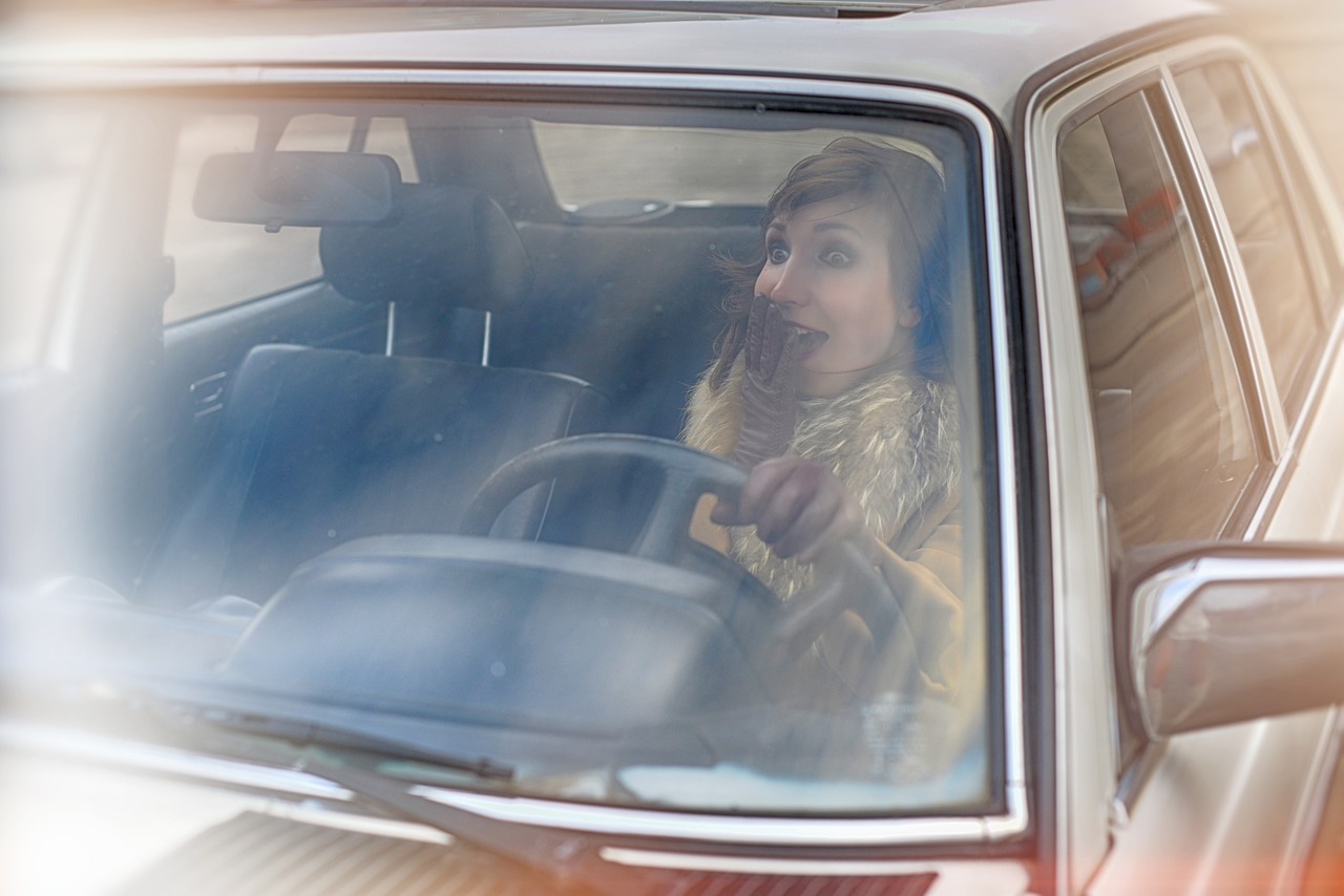 girl in retro car, rides, moving